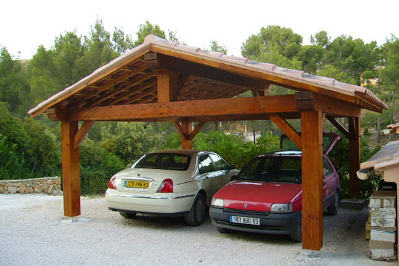 Garage pergola naturellement bois constructeur de for Garage automobile ouvert